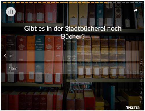 Screenshot der Münster-im-Jahr-2030-Umfrage der WN zur Frage nach der Stadtbücherei